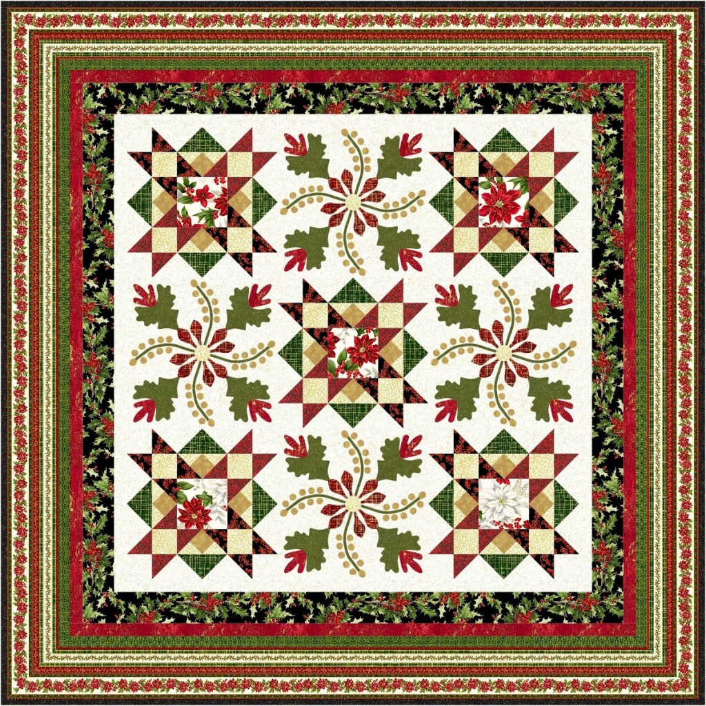 Free Christmas Quilt Pattern With Poinsettias And Applique Pieced Brain