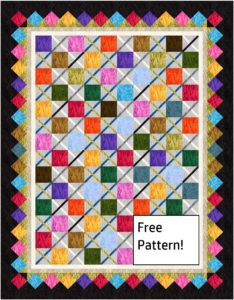 Quilt with squares and bright colors – a free pattern!