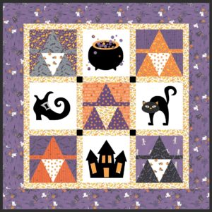 Fat quarter Halloween quilt pattern to make in one day