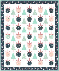Modern quilt with Christmas ornaments and trees
