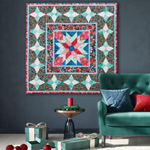 Christmas quilt pattern with poinsettias